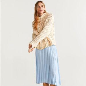 Pastel Blue Pleated Midi Skirt